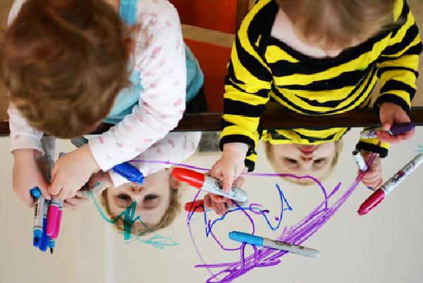 Process art for preschoolers using a mirror  from Meri Cherry - Kids Activities Blog