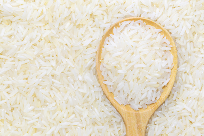 White rice ready for food dye to become colored rice - Kids Activities Blog