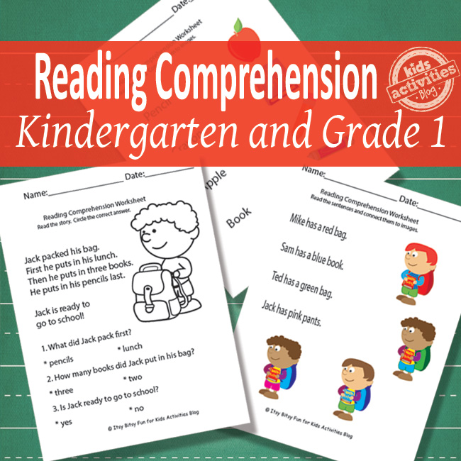 back to school reading comprehension worksheets for kindergarten and 1st grade - pdf versions shown on green background