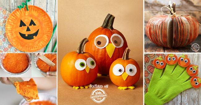 easy pumpkin activities for kids like a paper plate pumpkin, pumpkin pie, making pumpkin faces, book pumpkin and pumpkin puppets