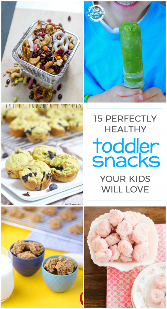 Healthy snacks for toddlers - a collection of good toddler snacks that are easy to serve and healthy - pictured are 5 healthy toddler snacks from muffins to breakfast cookies.