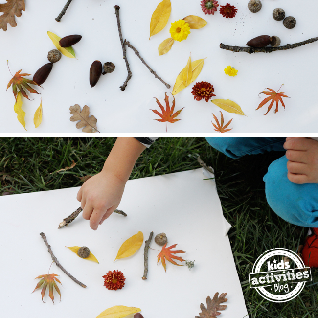 dessin avec la nature - en dehors de l'art d'automne pour les enfants utilisant des objets trouvés dans la nature comme des bâtons, des feuilles, des fleurs, des glands et plus encore