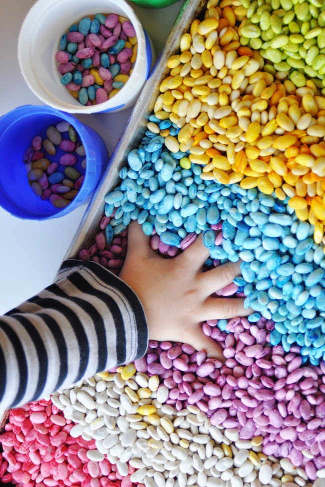 Scented rainbow beans that used dye to color beans different colors and use for sensory bin play