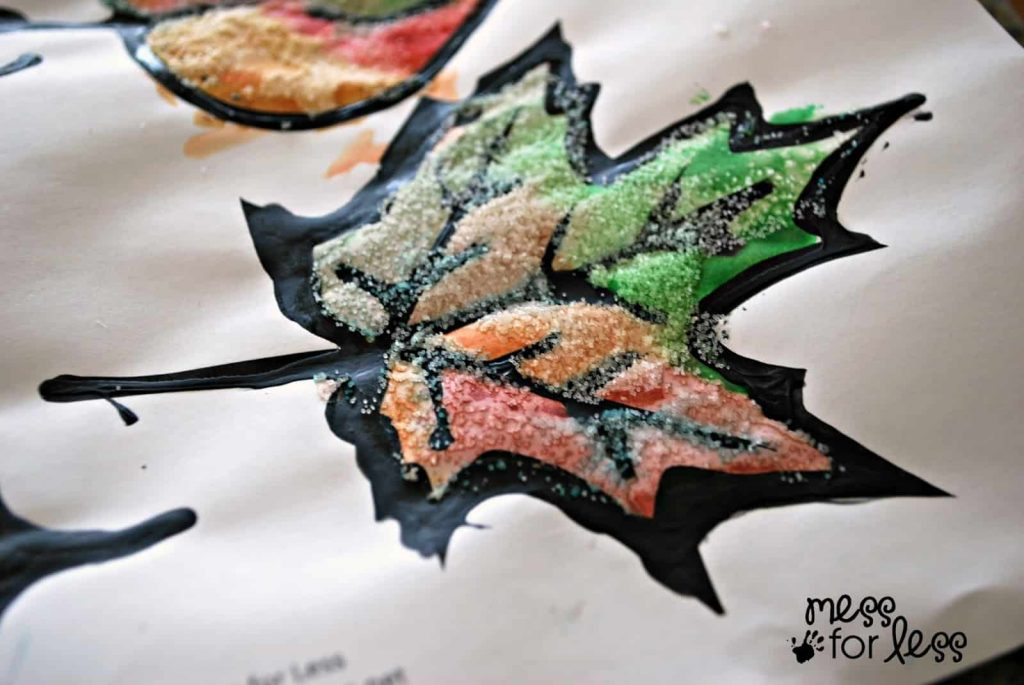 Watercolor and salt leaves from mess for less craft for kids