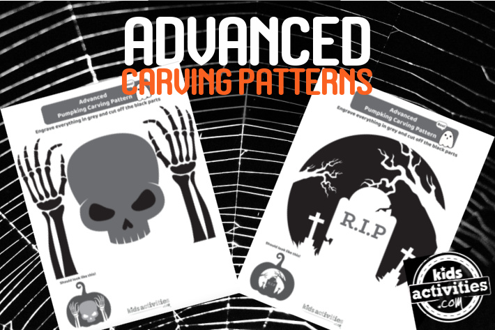 2 free advanced pumpkin carving patterns from Kids Activities Blog - printed pdf shown are skull with hands and RIP graveyard scene