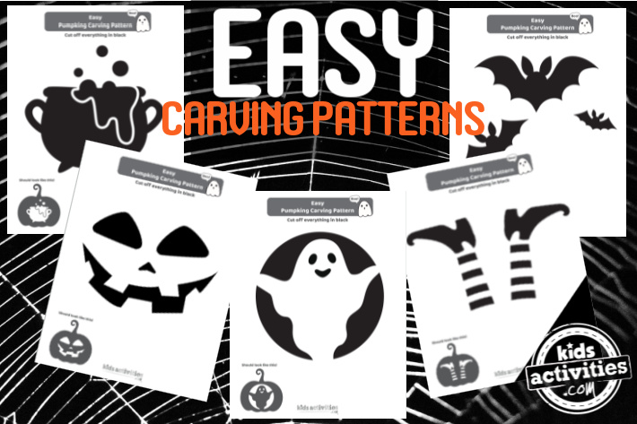 5 Easy Pumpkin carving patterns for kids - witches caldron, traditional jack o lantern, ghost, witch legs upside down and three flying bats
