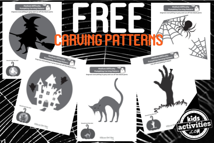 These 5 free carving patterns for jack o lantern designs are medium or intermediate skill level and have more detail than the easy patterns.