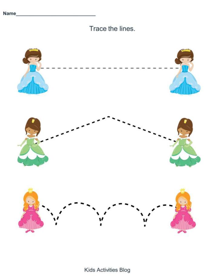 Princess Preschool Worksheet - Trace the lines - Kids Activities Blog