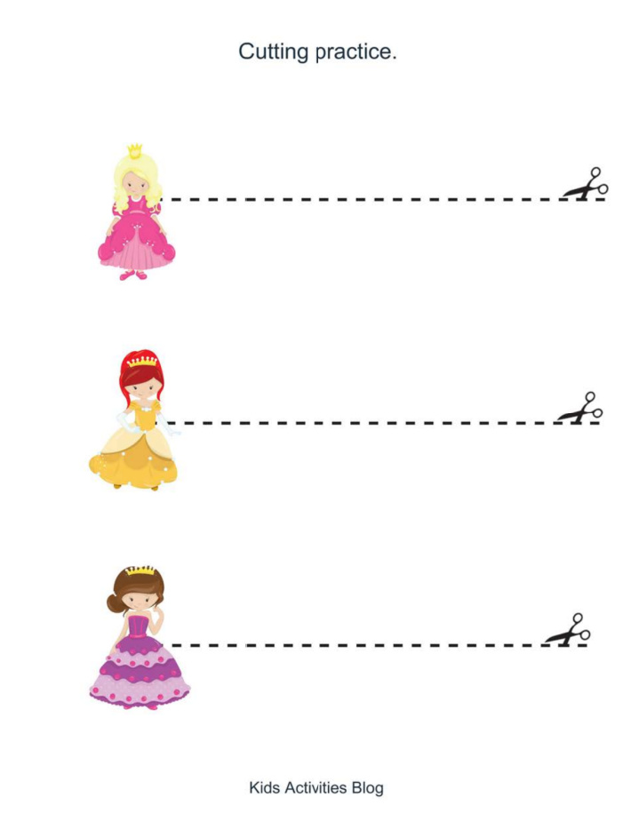 Preschool printable princess worksheet pack - pdf file for cutting practice