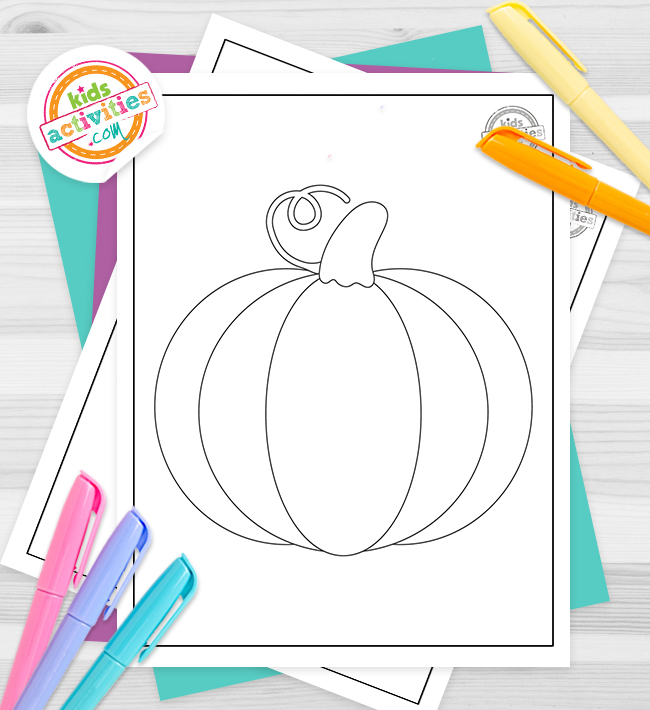 Pumpkin coloring pages for kids - Halloween coloring pages - pumpkin pdf shown on grey background