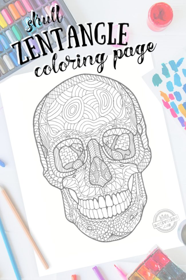 pdf of Halloween coloring pages - human skull zentangle design