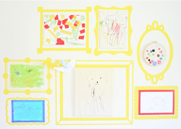permanent painted frames on wall display and store kids artwork beautifully from Childhood 101