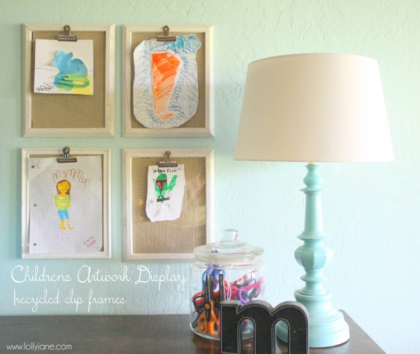 clips inside frames allow children's artwork to be placed in and out of frames for display from Lollyjane